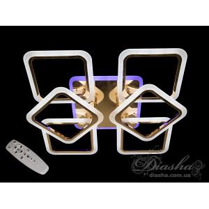 Плоские светодиодные люстры Diasha A8060/4+2 G led dimmer 3 color